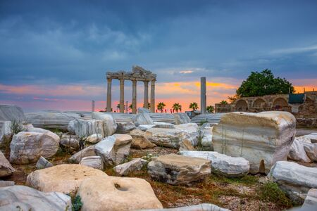 Ruins of the Temple of Apollo in Side, Turkey at sunset