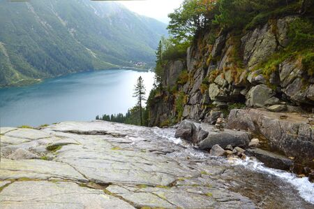 Morskie Oko (Sea Eye) Lake in the mountains. Lake is the most popular place in High Tatra Mountains, Poland