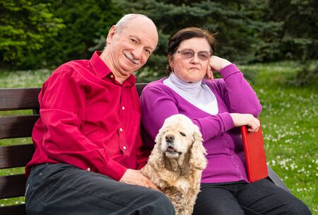 Senior couple sitting on a bench and enjoying springtime in the park Imagens