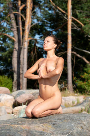 Yoga time. Young nude woman posing on stone against nature background 免版税图像