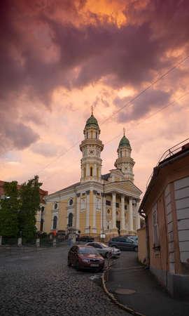 Uzhhorod, Ukraine - October 5, 2020:  Greek Catholic Cathedral in Uzhgorod, Ukraine. Krestovozdvizhensky Cathedral is a landmark of the city of Uzhhorod. Built in 1646