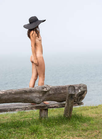 Young nude woman in black hat posing on a wooden bench at the beach 免版税图像