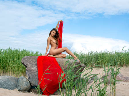 Young beautiful woman enjoying summer time at the beach. Sexy brunette model posing on stone Stock Photo