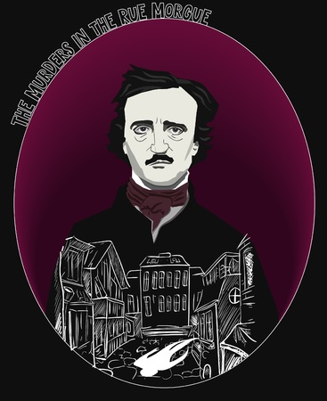 The Murder in the Rue Morgue by Edgar Allan Poe vector Illustration.