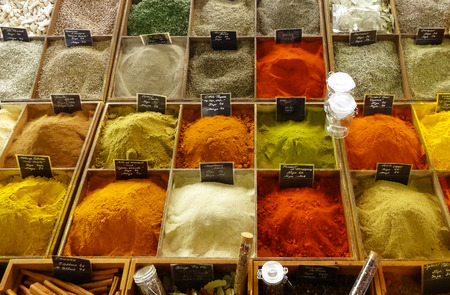 Spices stand selling in the food market