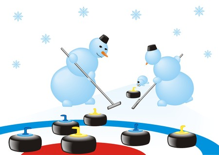 curling: Snowmen team playing in the curling