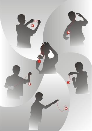 yoyo: six sets of view silhouette of  yo-yo game of boy
