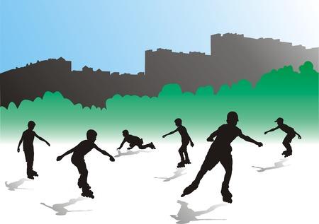 blue roller: boys roller skate in a city park Illustration