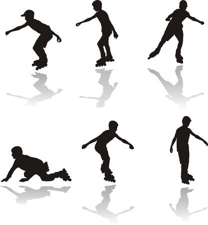 rollerblading: Seis conjuntos de rollerbladers de niño de siluetas de vista