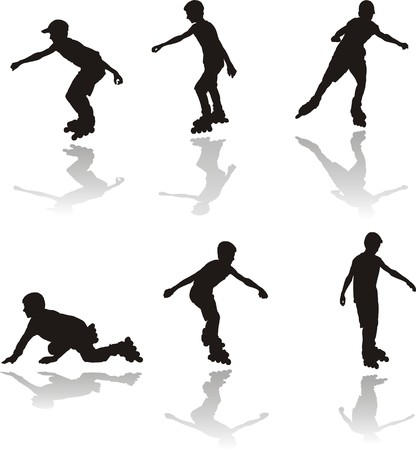 rollerblading: Six sets of view silhouettes boy rollerbladers