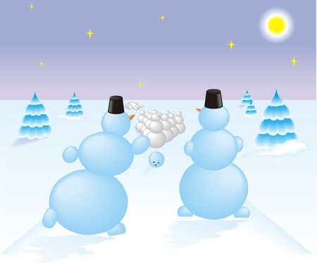 Two snowman playing the bowling on the night snow field Ilustração
