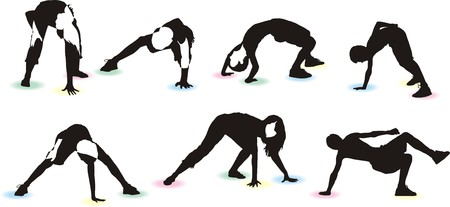 Seven sets of silhouettes of Twister game players