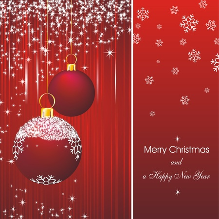 Christmas card as abstract red background with new year stars and decorations Vector