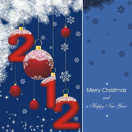 tarjeta de año nuevo con las estrellas en azul y la silueta rama de abeto y las decoraciones de Navidad Foto de archivo - 10436997