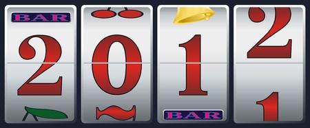 new year 2012 in slot machine Vector