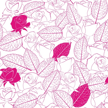 seamless pattern as white rose flowers and leaves Stock Vector - 10436991