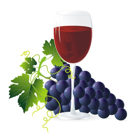 winemaking: bunch of blue grapes with green leaves and glass of wine