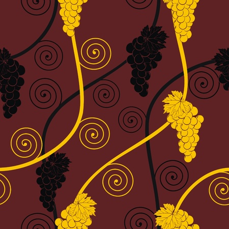 seamless abstract golden and black grape pattern on brown background Vector