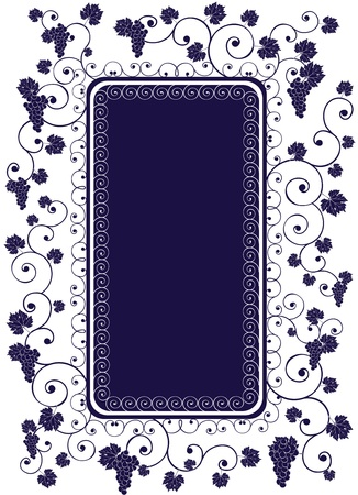 dark cyan portrait frame decorated grape, vine and abstract ornament Stock Vector - 10596742