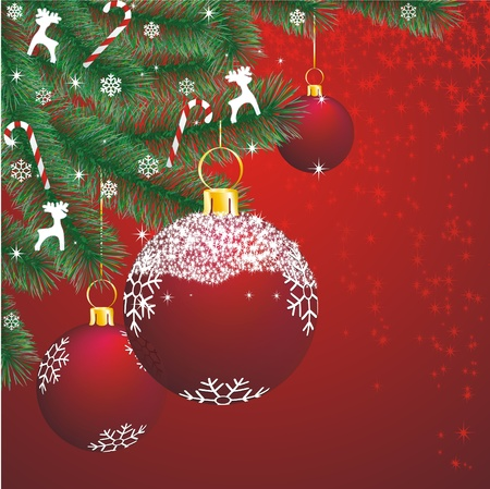 christmas fir corner with decoration on red background Vector