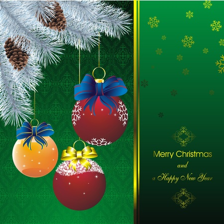 new year card with stars on orient green pattern and blue fir and color christmas decorations Stock Vector - 10596763