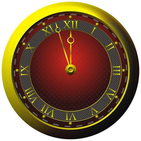 정오: 흰색에 고립 된 빨간 다이얼로 고대의 황금 시계,