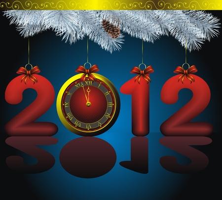 정오: 황금 시계와 장식 푸른 전나무와 같은 새로운 2012 년 카드 일러스트