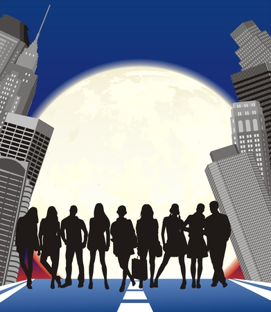 nigth: silhouette of group young people on moon city background Illustration