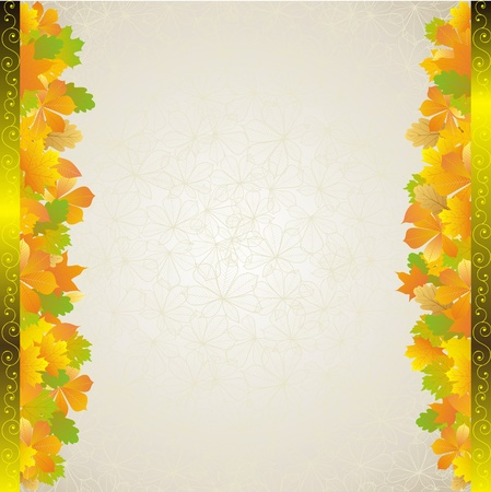 autumn yellow leaves frame with plant background Stock Vector - 10932081