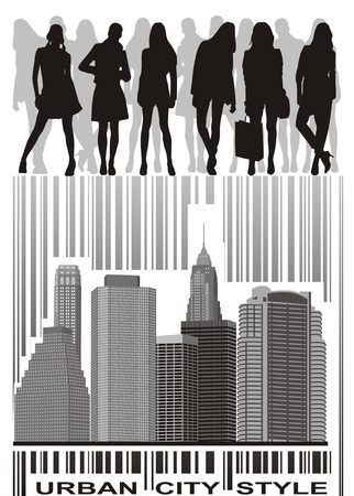 silhouettes of young people group on the bar code Vector
