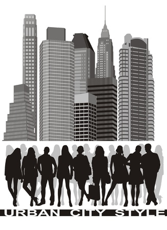 skylines: silhouettes of young people group before the city