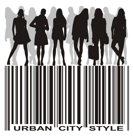 silhouettes of young people group on the bar code