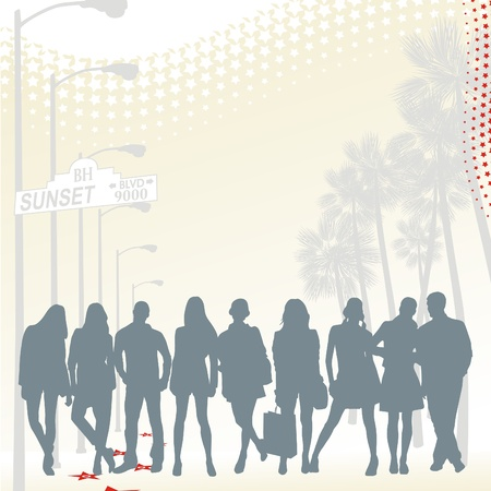 silhouettes of young people group on the sunset boulevard