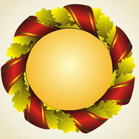 oak wreath: oak golden laureate wreath with red ribbon