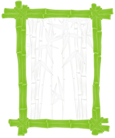bamboo border: summer green bamboo frame with silhouette background