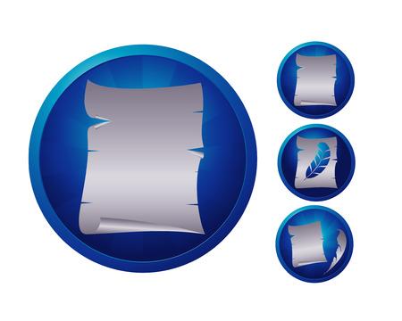 ensemble de trois icônes bleues avec feuille de papier antique