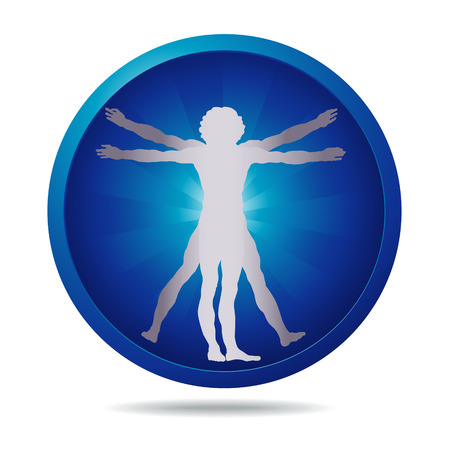 blue icon with Vitruvian man silhouette