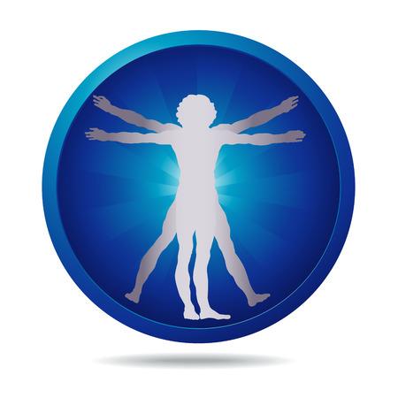 uomo vitruviano: icona blu con uomo vitruviano silhouette
