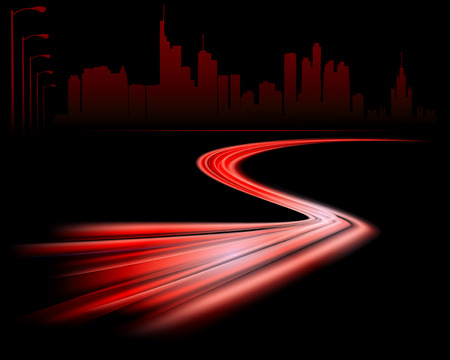 night road: abstract night road on the dark city silhouette background