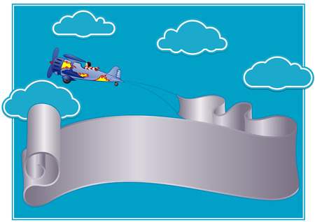 flying streamer or poster in the sky Illustration