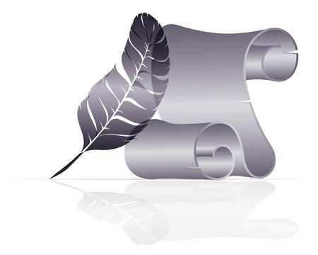 icône bleue avec l'ancien rouleau de papier et la plume