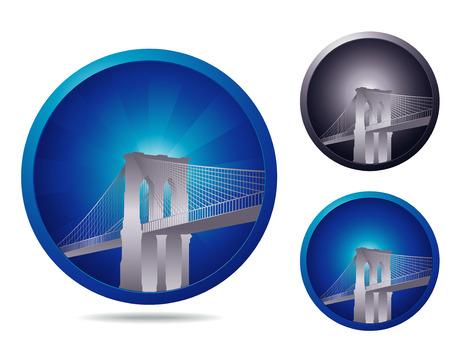 brooklyn bridge: set of three icons with Brooklyn bridge Illustration