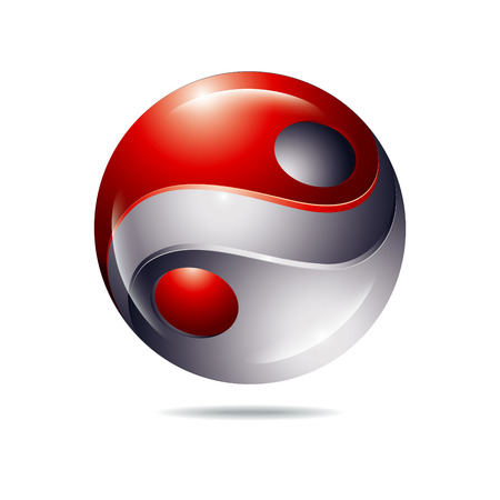 antipode: abstract Yin and Yang red and gray color icon
