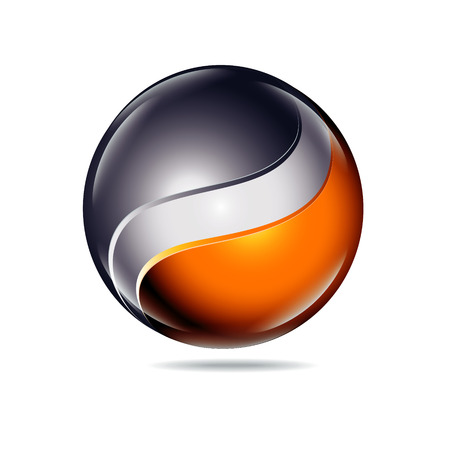antipode: abstract Yin and Yang blank and orange color icon Illustration