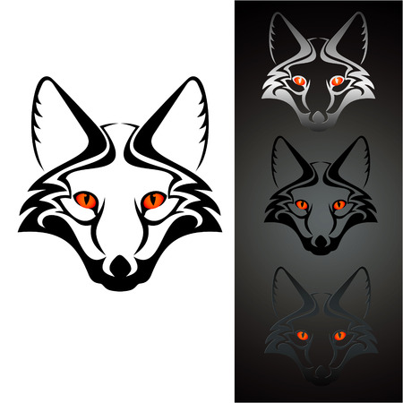 black fox: set of three view cutout fox head stencil, isolated on white  Illustration