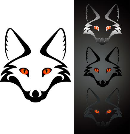 állat fej: Állítsa be a három nézet kivágás róka fej stensil, elszigetelt fehér
