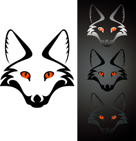 animal head: set of three view cutout fox head stensil, isolated on white
