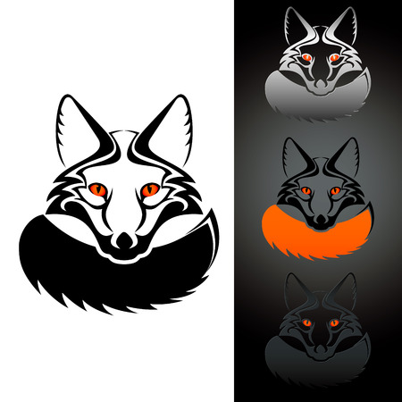 set of three view cutout fox head stensil, isolated on white  Vector