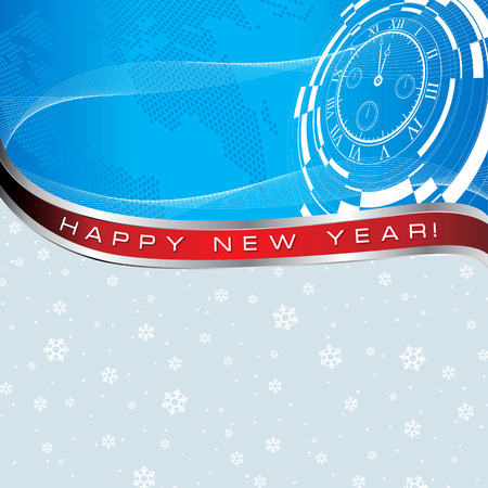 new year card with abstract watch and earth map on snowflaks background Vector