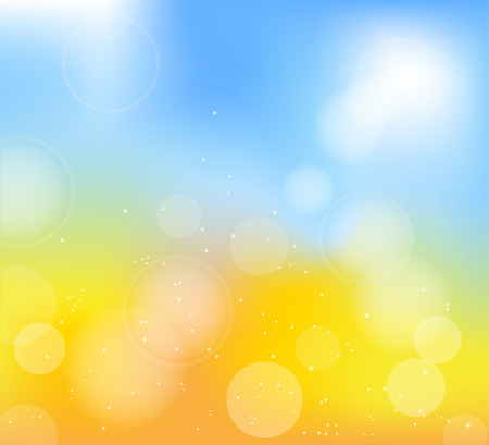 autumn frame with blur yellow and blue background  Illustration